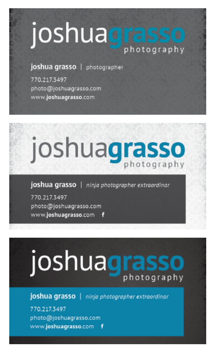 New Business Cards: Gwinnett Wedding Photography - Joshua Grasso ...