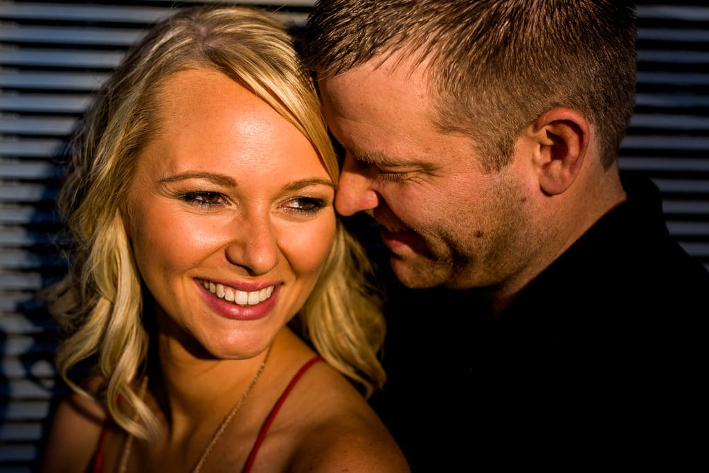 A close up of a couple during their downtown atlanta engagement session.