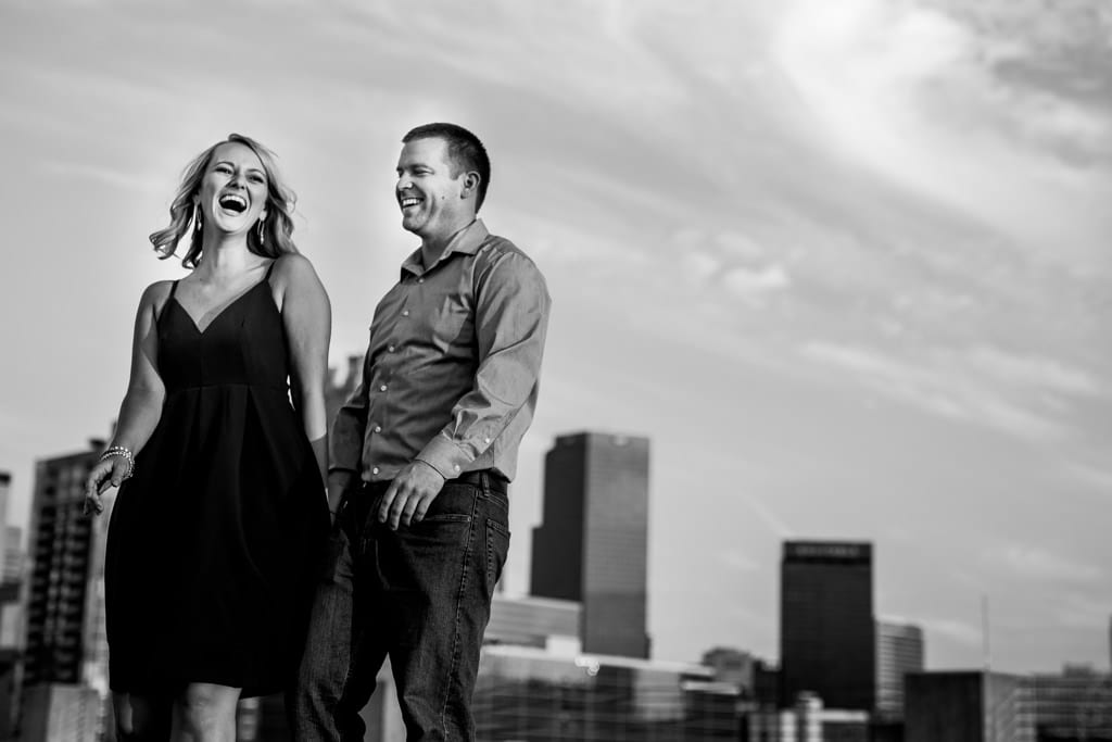 The sun setting on the Atlanta skyline for an Atlanta engagement session.