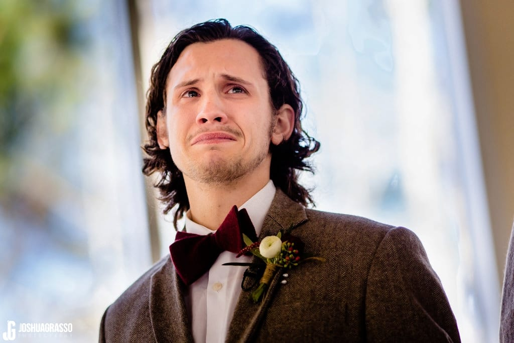 groom tears seeing bride
