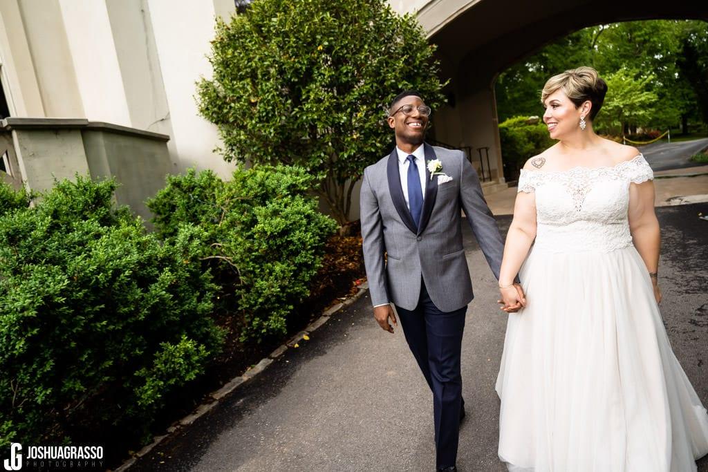 Bride and groom callanwolde fine arts center garden portrait