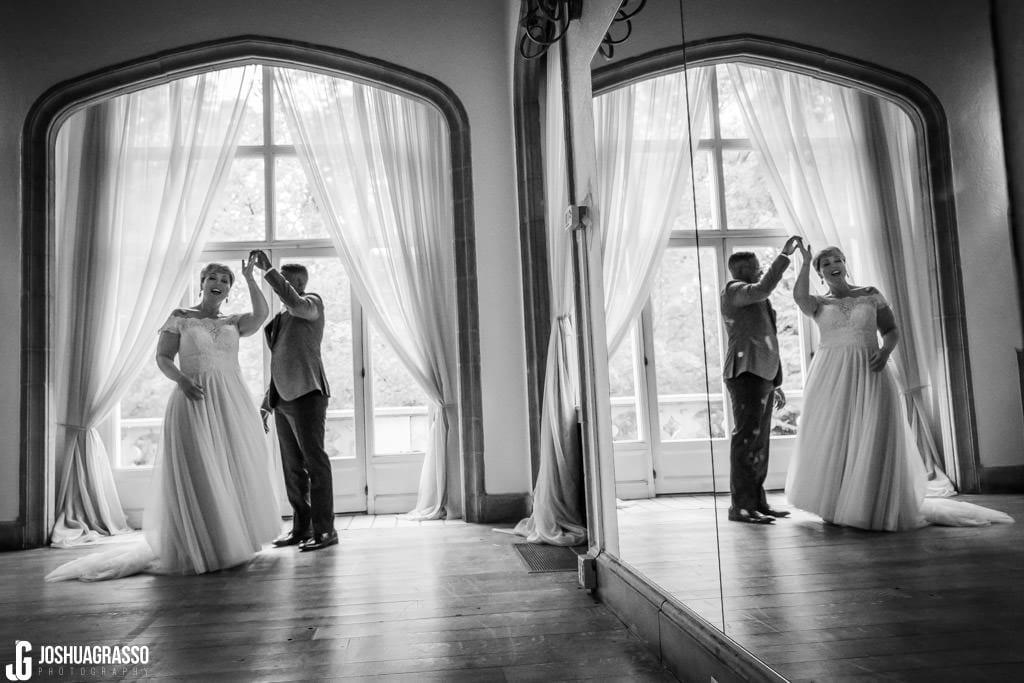 Bride and groom callanwolde fine arts center indoor portrait
