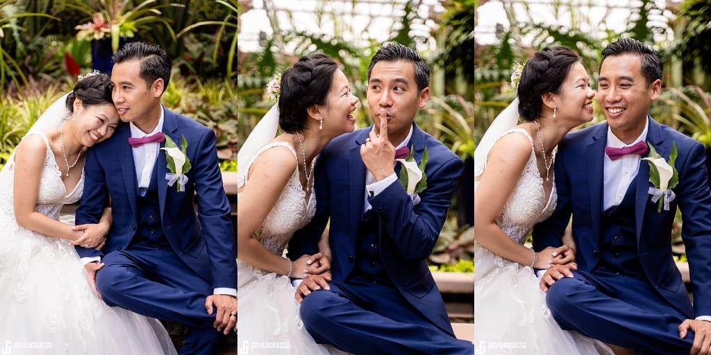 Asian bride and groom Atlanta botanical gardens fuqua conservatory wedding portrait