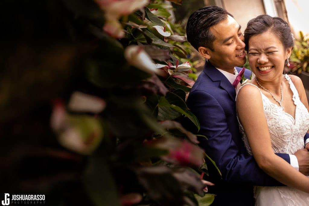 Atlanta botanical gardens fuqua conservatory wedding portrait bride and groom