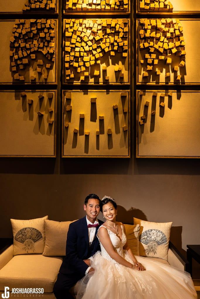 Royal china bride and groom wedding portrait