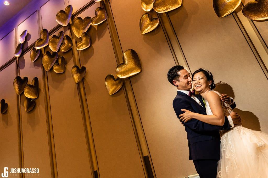 Creative Bride and Groom portrait at royal china wedding reception