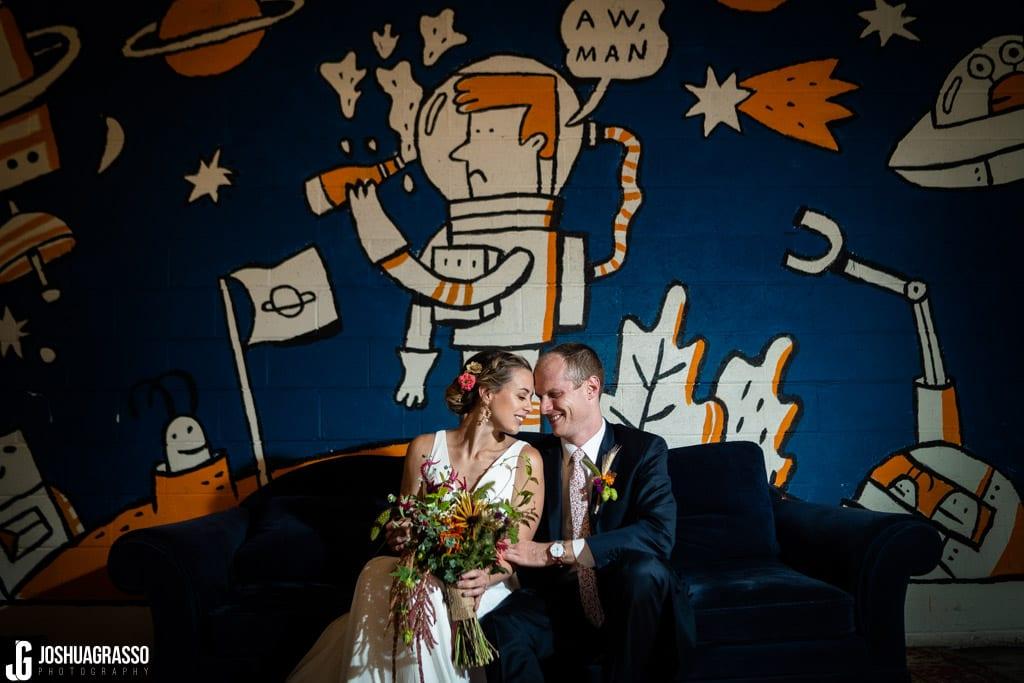 Bride and groom indoor portrait Monday Night Garage Wedding