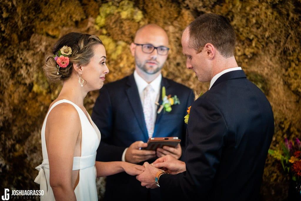 Bride and groom ceremony at Monday Night Garage Wedding