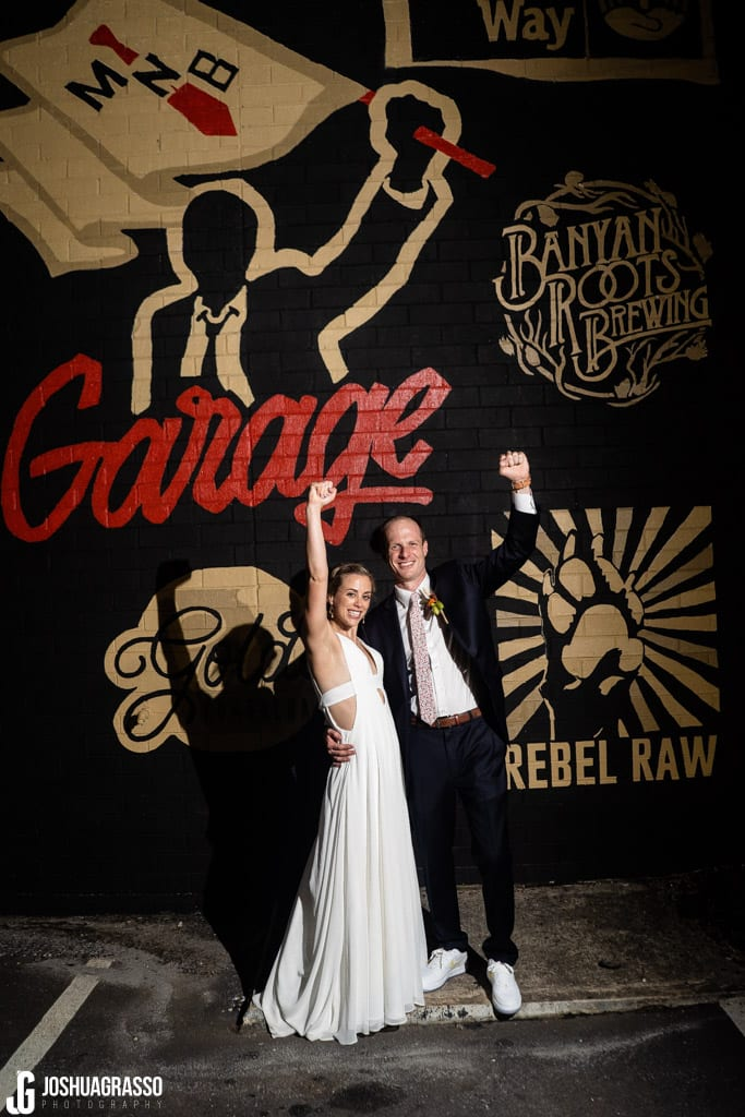 NIght portrait bride and groom Monday Night Garage Wedding