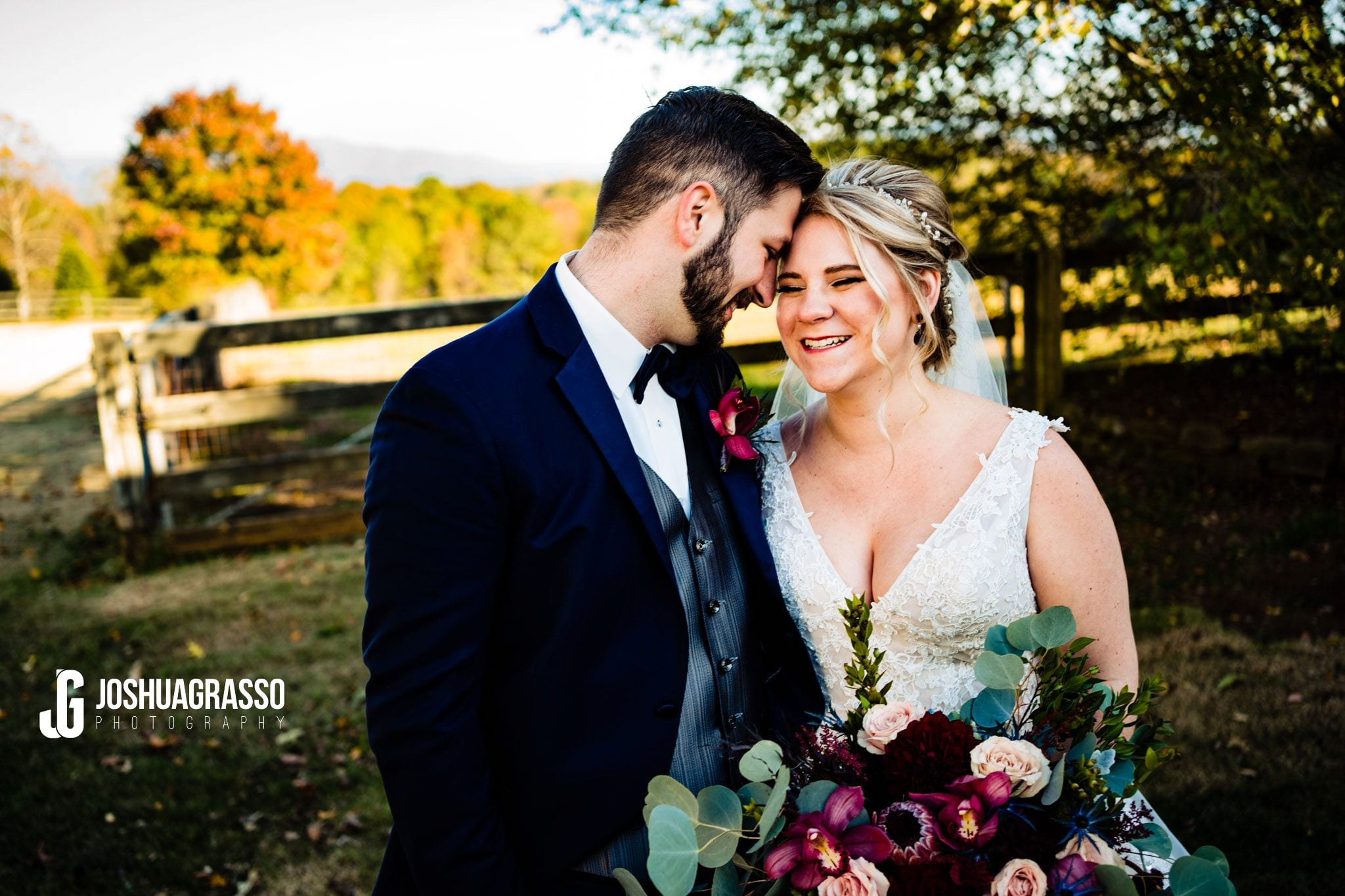 Wedding portrait of bride and groom at walnut hill farm wedding venue.