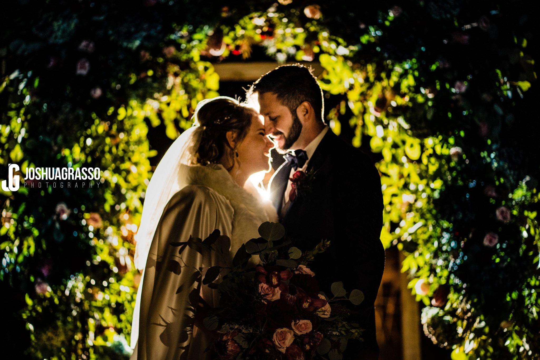 Wedding portrait of bride and groom at walnut hill farm wedding venue.