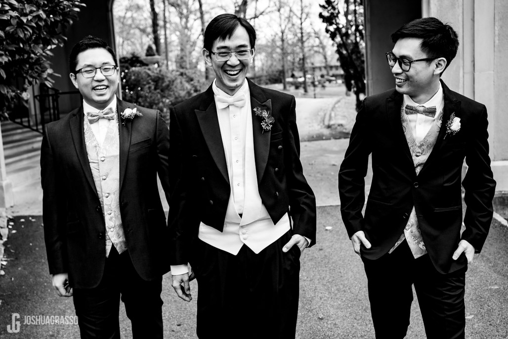 Wedding portrait of groom and his groomsmen at callanwolde fine arts center.