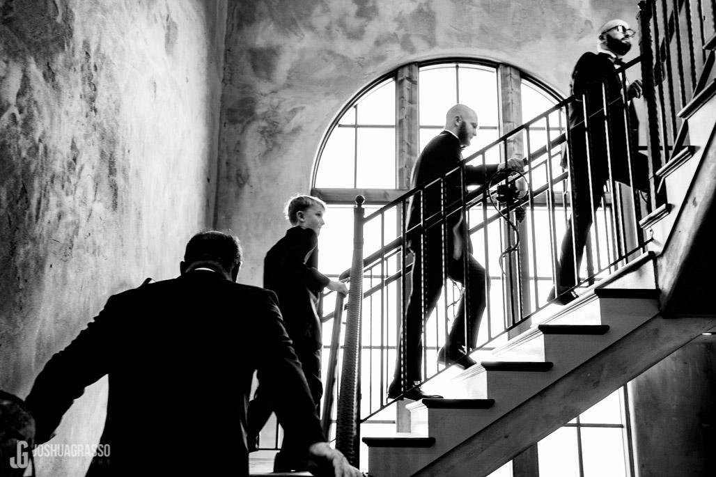 Wedding portrait of groom and his groomsmen at montaluce winery wedding venue.