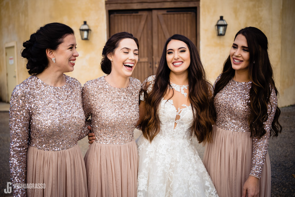 Wedding portrait of bride and her bridesmaids at montaluce winery wedding venue.