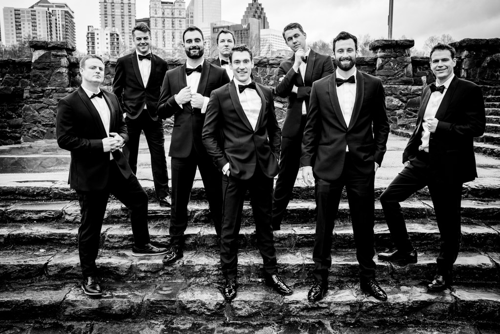 Portraits of Groom and his groomsmen at Greystone Piedmont Park.