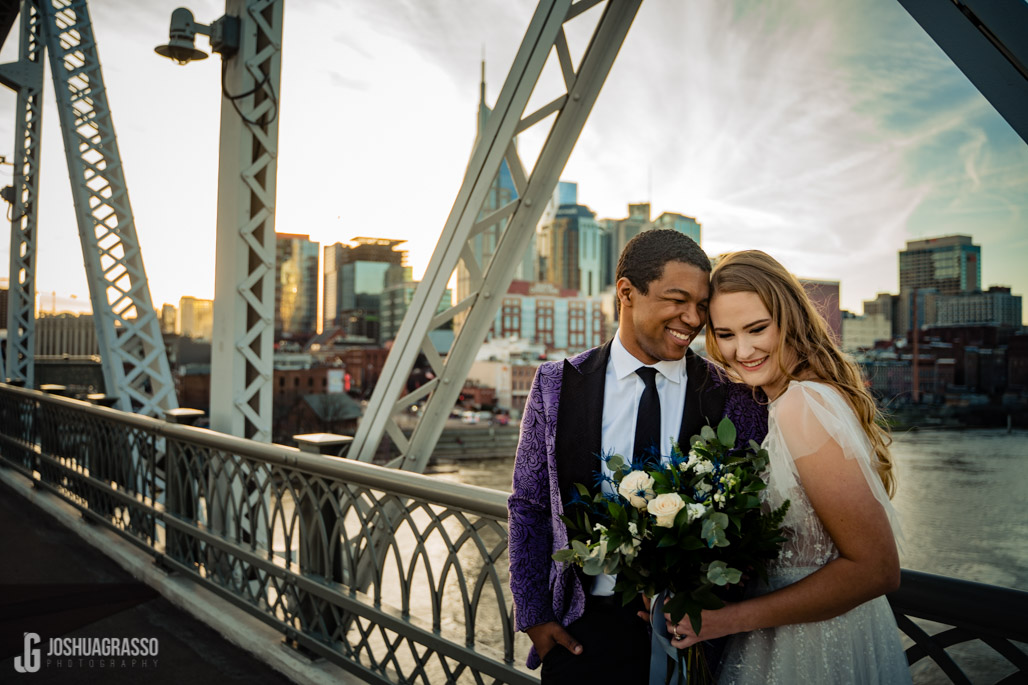 Nashville skyline wedding photo