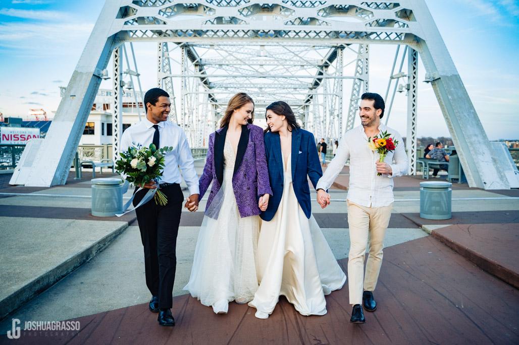 nashville pedestrian bridge wedding skyline