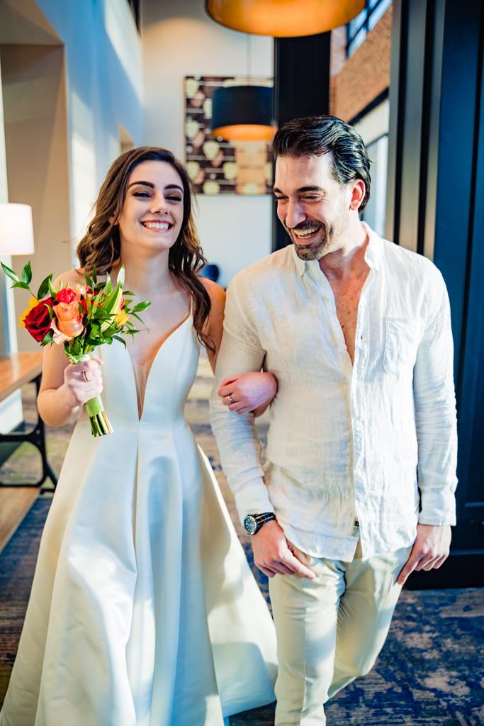 Bride and groom at Hyatt House Sobro Nashville