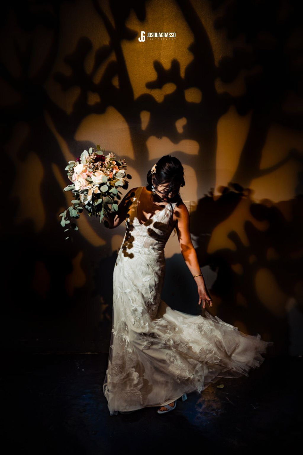 bridal portrait at king plow art center in front of gobo
