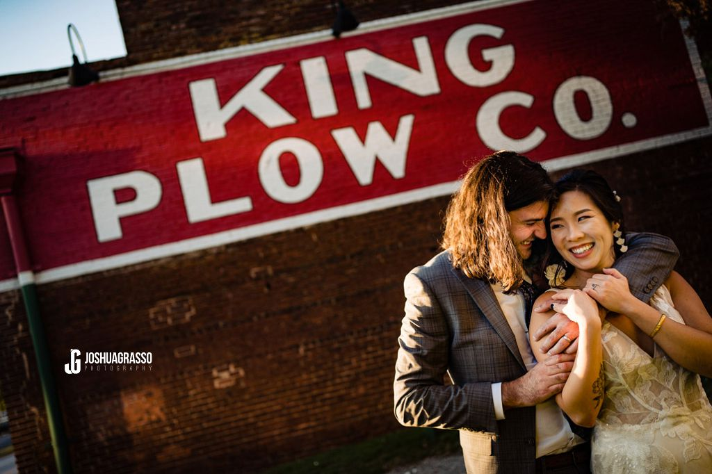 bride and groom portrait at king plow art center wedding