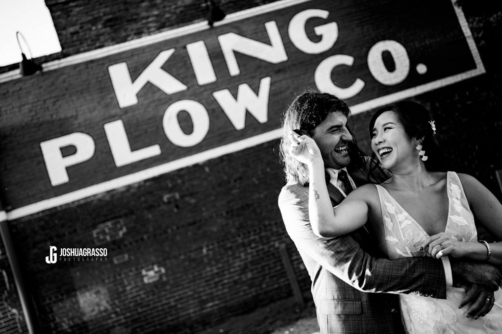 Bride and groom portrait at king plow wedding