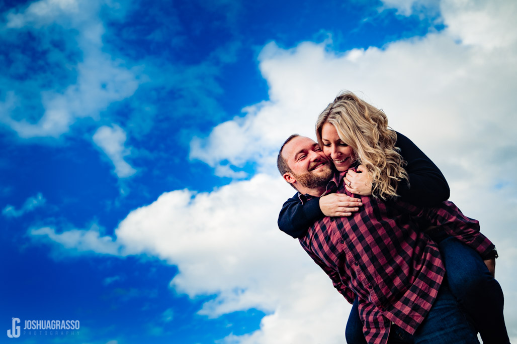 cloudy sky engagement photo