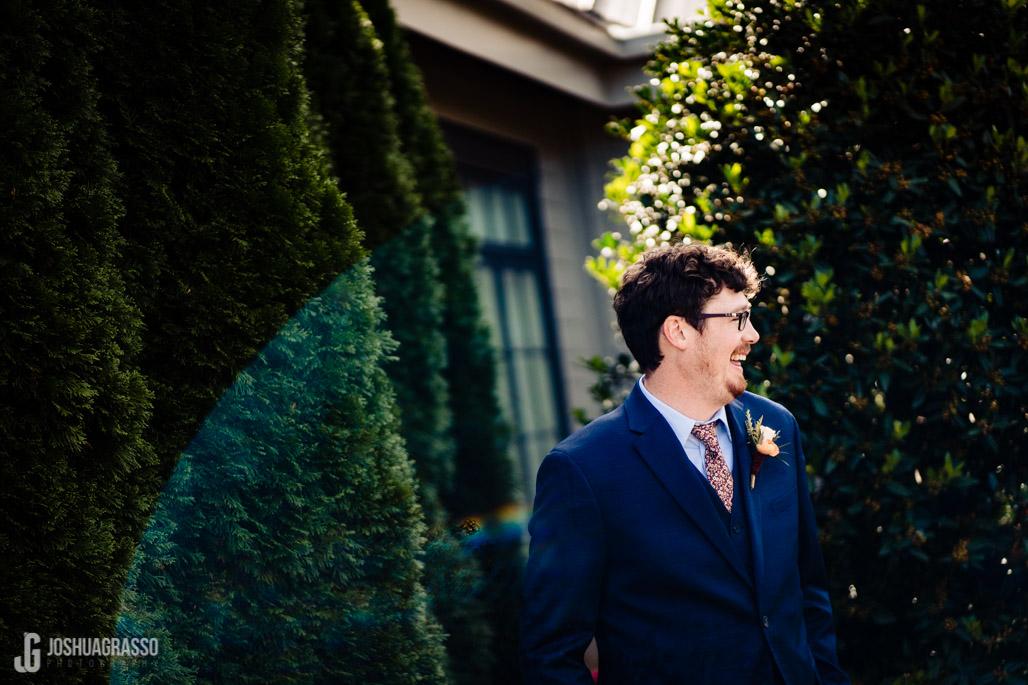 Yonah mountain wedding groom smiling