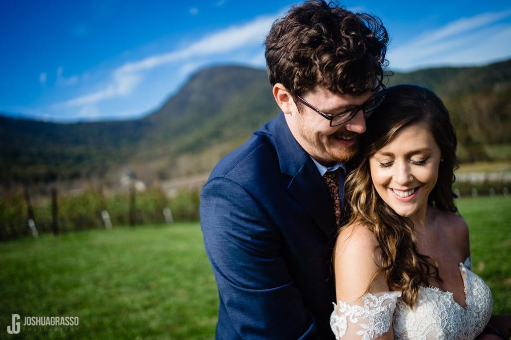 Yonah mountain wedding bride and groom portrait