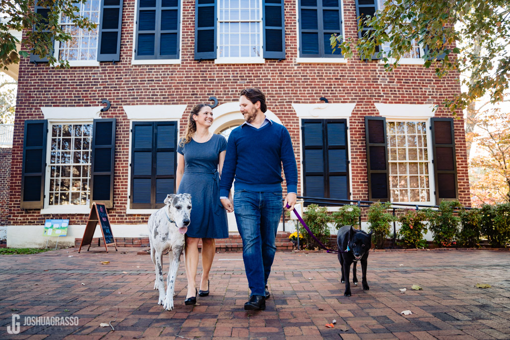 downtown engagement session with dogs